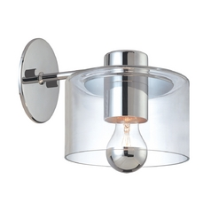 Mid-Century Modern Sconce Wall Light Polished Chrome Transparence by Sonneman Lighting