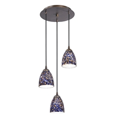 Design Classics Lighting Modern Multi-Light Pendant Light with Blue Glass and 3-Lights 583-220 GL1009MB