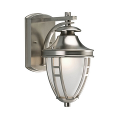 Progress Lighting Progress Outdoor Wall Light with White Glass in Brushed Nickel Finish P5775-09