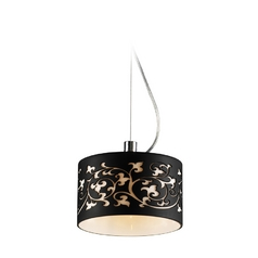 Modern Mini-Pendant Light with Black Glass