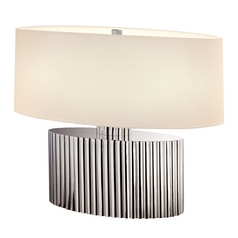 Modern Table Lamp with Beige / Cream Shades in Polished Nickel Finish