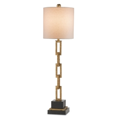 Currey and Company Lighting Gold Leaf / Black Table Lamp with Cylindrical Shade