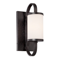 Modern Sconce Wall Light with White Glass in Artisan Finish