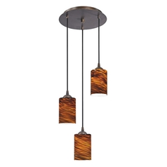 Design Classics Lighting Modern Multi-Light Pendant Light with Brown Art Glass and 3-Lights 583-220 GL1023C