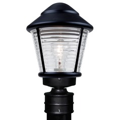 Ribbed Glass Post Light Black Costaluz by Besa Lighting