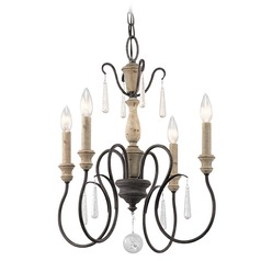 Kichler Kimberwick 4-Light Mini Chandelier in Weathered Zinc