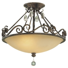 Semi-Flushmount Light with Beige / Cream Glass in Mocha Bronze Finish