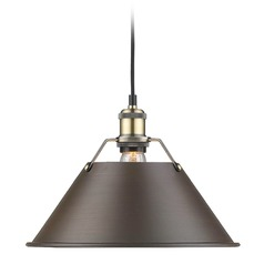 Golden Lighting Orwell Ab Aged Brass Pendant Light with Conical Shade