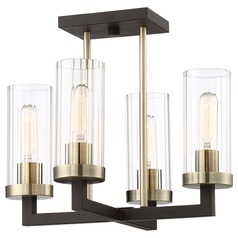 Minka Lavery Bronze with brushed Brass Semi-Flushmount Light