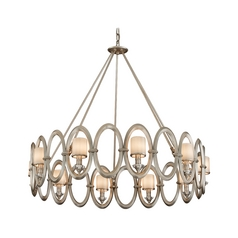 Modern Chandelier with White Glass in Satin Silver Leaf Finish