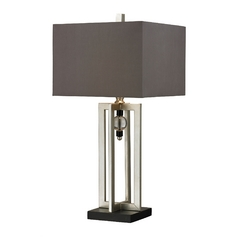 Table Lamp with Silver Leaf Finish and Square Shade