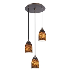 Design Classics Lighting Modern Multi-Light Pendant Light with Brown Art Glass and 3-Lights 583-220 GL1023D