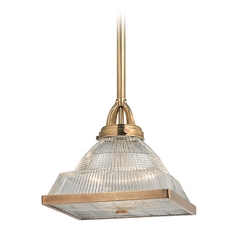 Hudson Valley Lighting Harriman Aged Brass Pendant Light with Square Shade