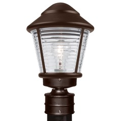 Ribbed Glass Post Light Bronze Costaluz by Besa Lighting