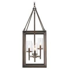 Golden Lighting Smyth Gunmetal Bronze Pendant Light with Cylindrical Shade