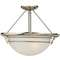 Quoizel Lighting Modern Semi-Flushmount Light with White Glass in Brushed Nickel Finish NA1716BN
