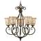 Quoizel Lighting Chandelier with Multi-Color Glass in Malaga Finish MY5005ML