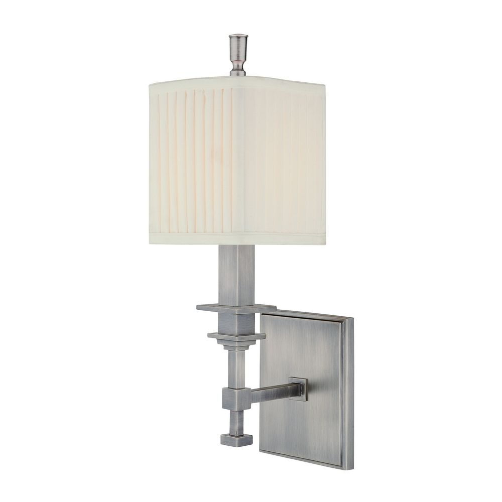 Sconce Wall Light with White Shade in Antique Nickel Finish 241-AN Destination Lighting