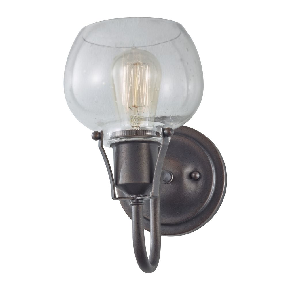 Iron Wall Sconces Lighting : Sconce Wall Light with Seeded in Rustic Iron Finish WB1702RI Destination Lighting