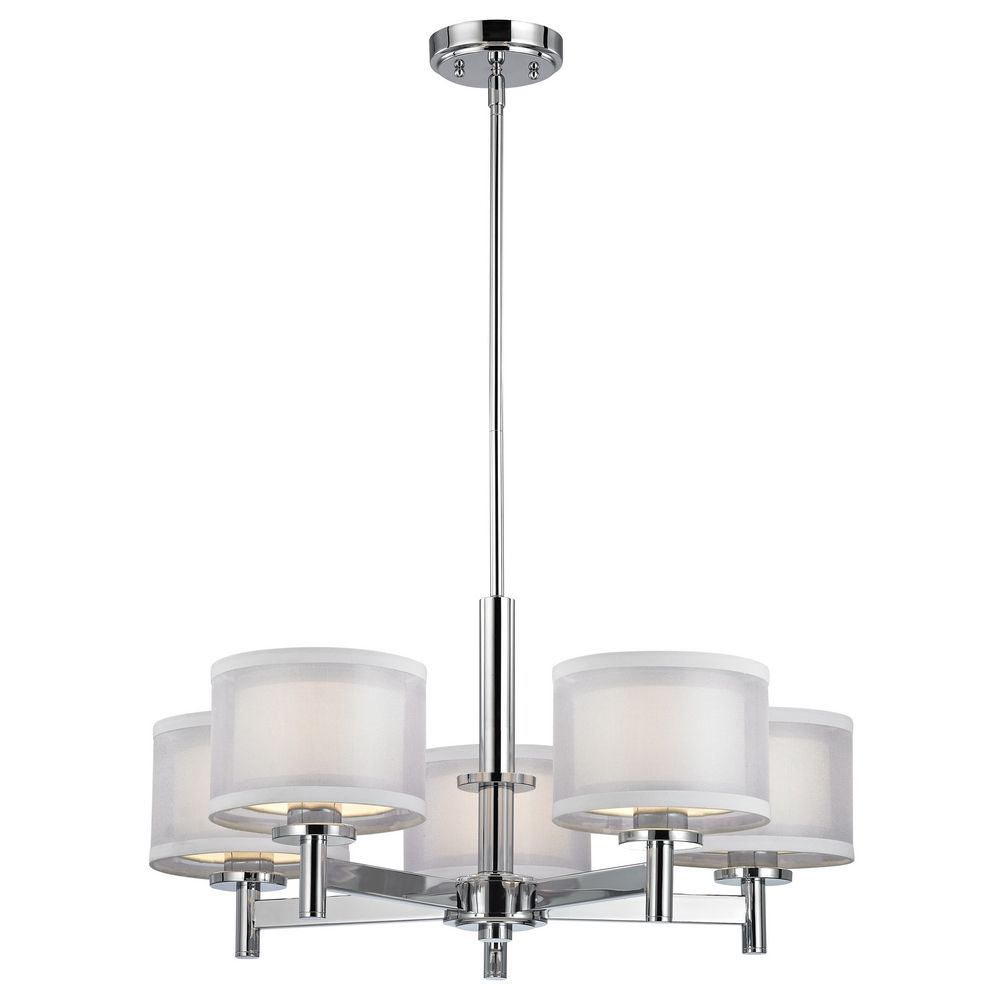 Modern Chandelier with White Shades in Chrome Finish – White Chandelier with Shades
