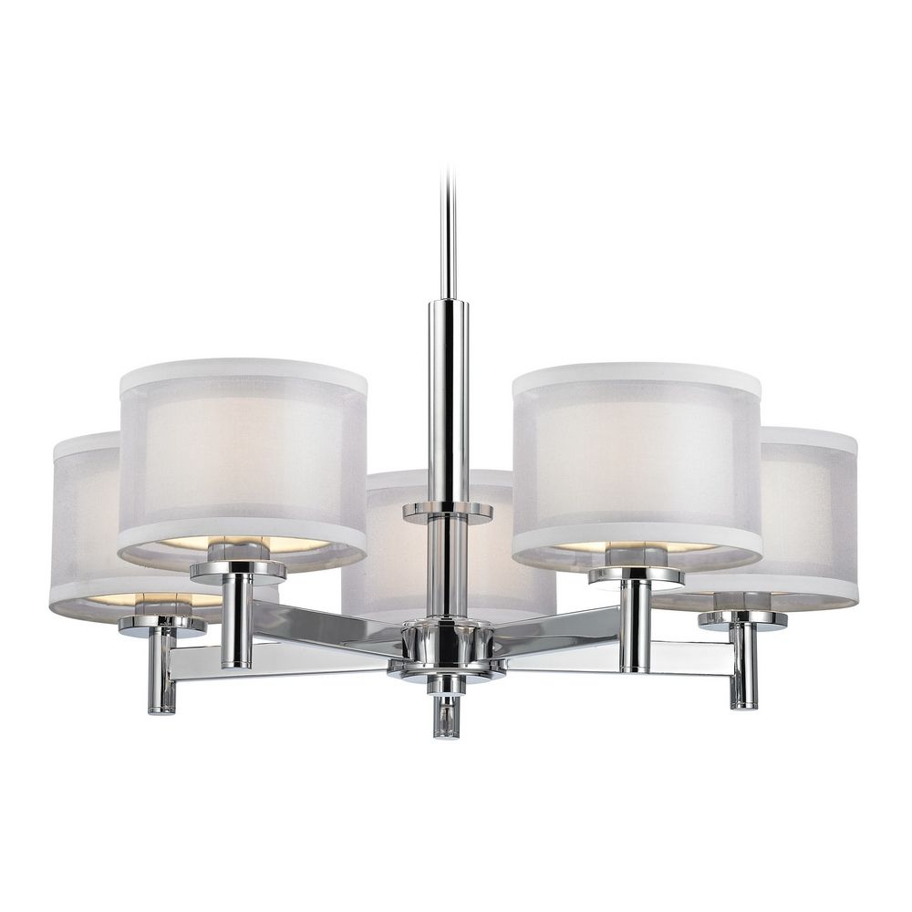 modern chandelier with white shades in chrome finish    - product image