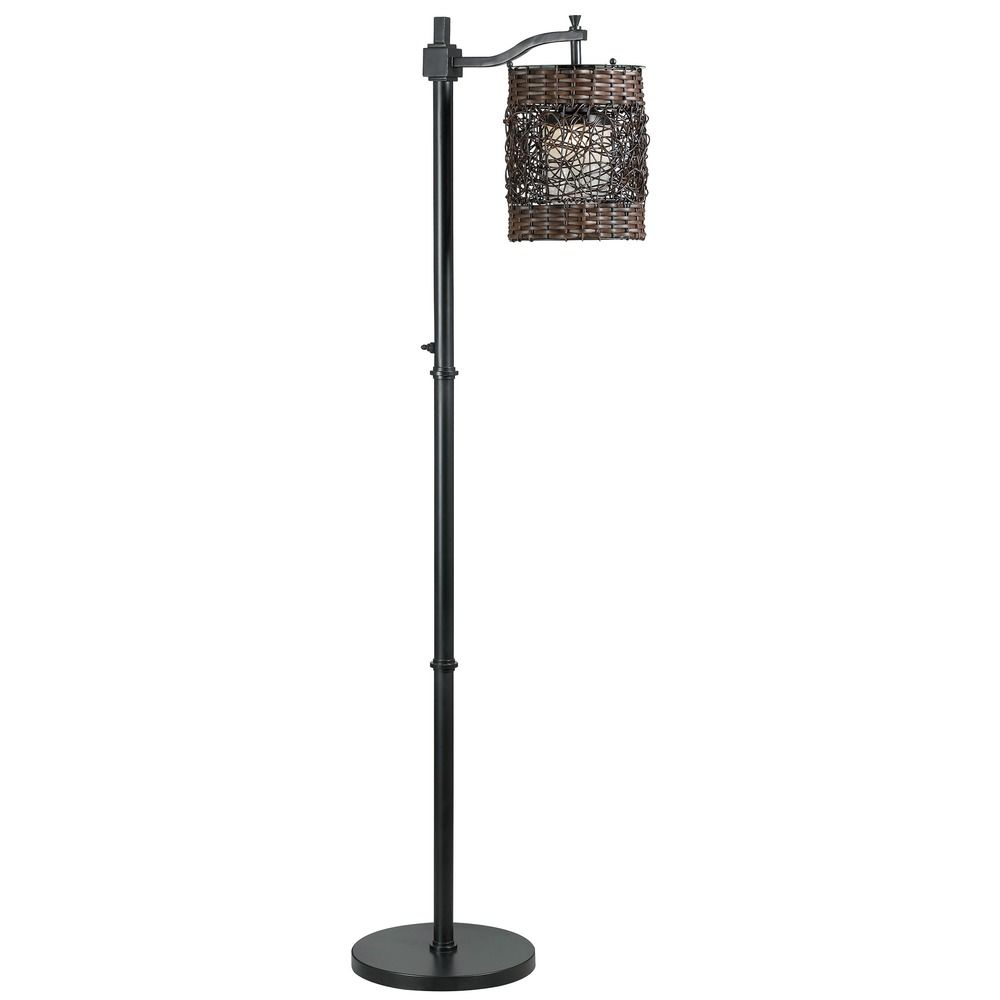 Floor lamp with brown wicker shade in bronze finish 32144orb hover or click to zoom aloadofball Gallery