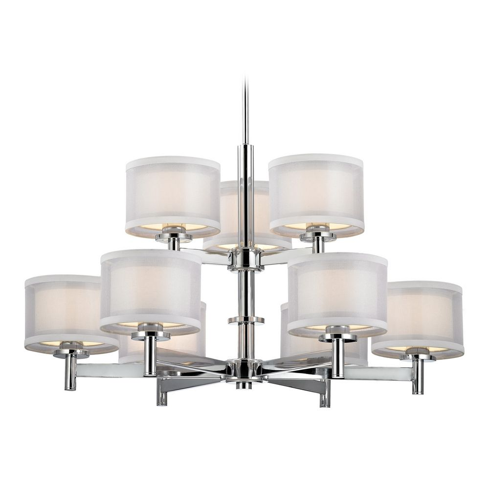 Modern chandelier with white shades in chrome finish 1272 26 destination lighting - White chandelier with shades ...