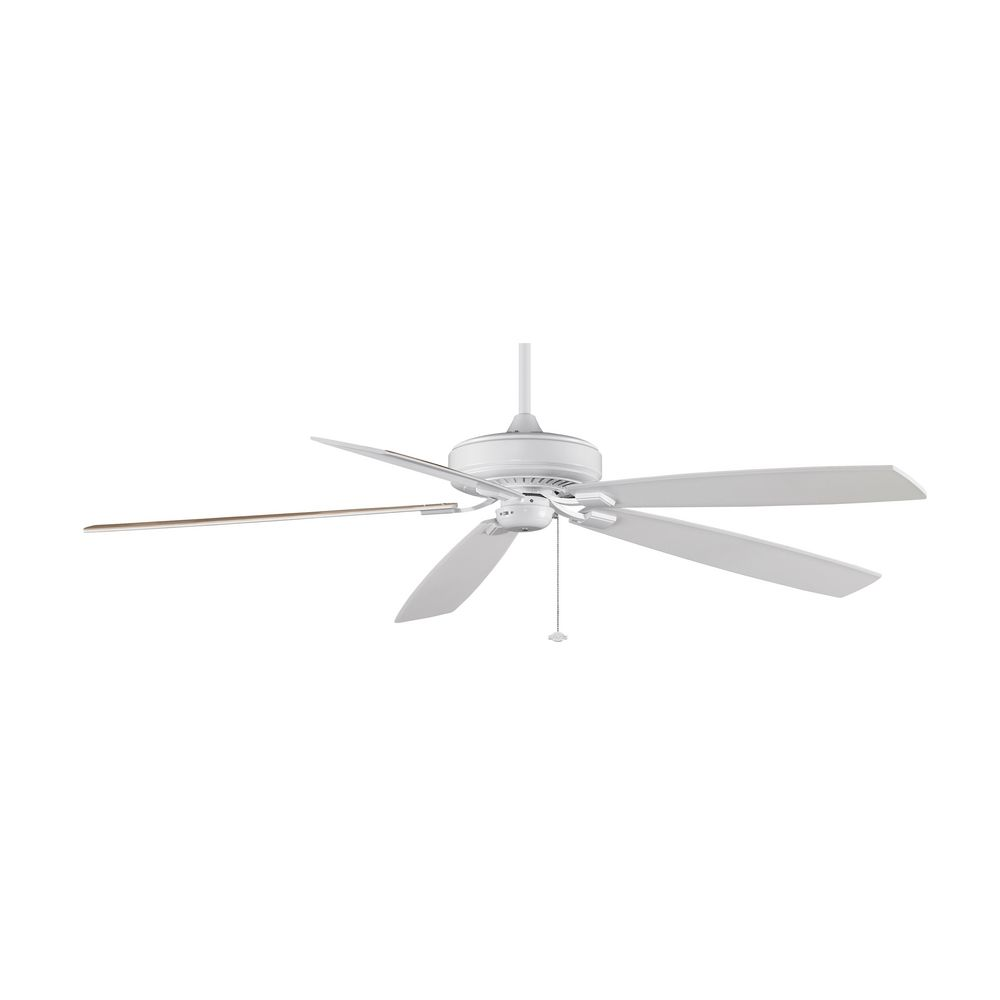 White Ceiling Fan : Modern ceiling fan without light in white finish tf wh