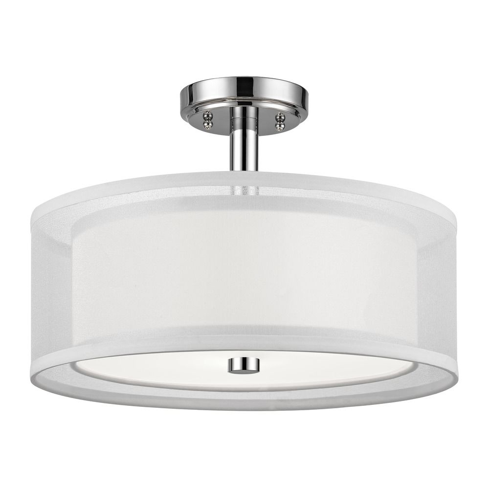 Conical 16 Drum Semi Flush Fixture In 2019: Double Organza Drum Ceiling Light Chrome 16 Inches Wide 3