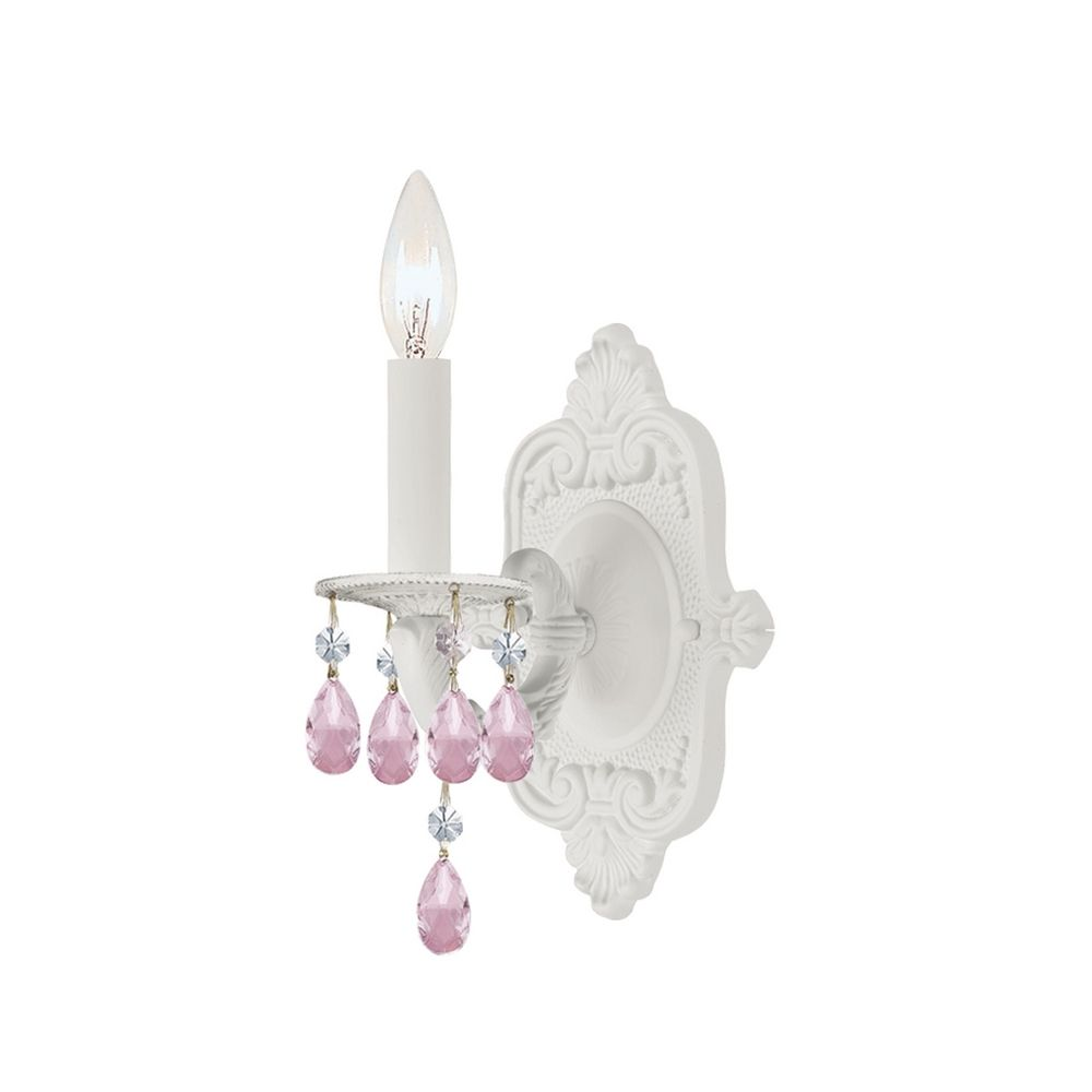 Crystal Sconce Wall Light in Wet White Finish 5021-WW-RO-MWP Destination Lighting