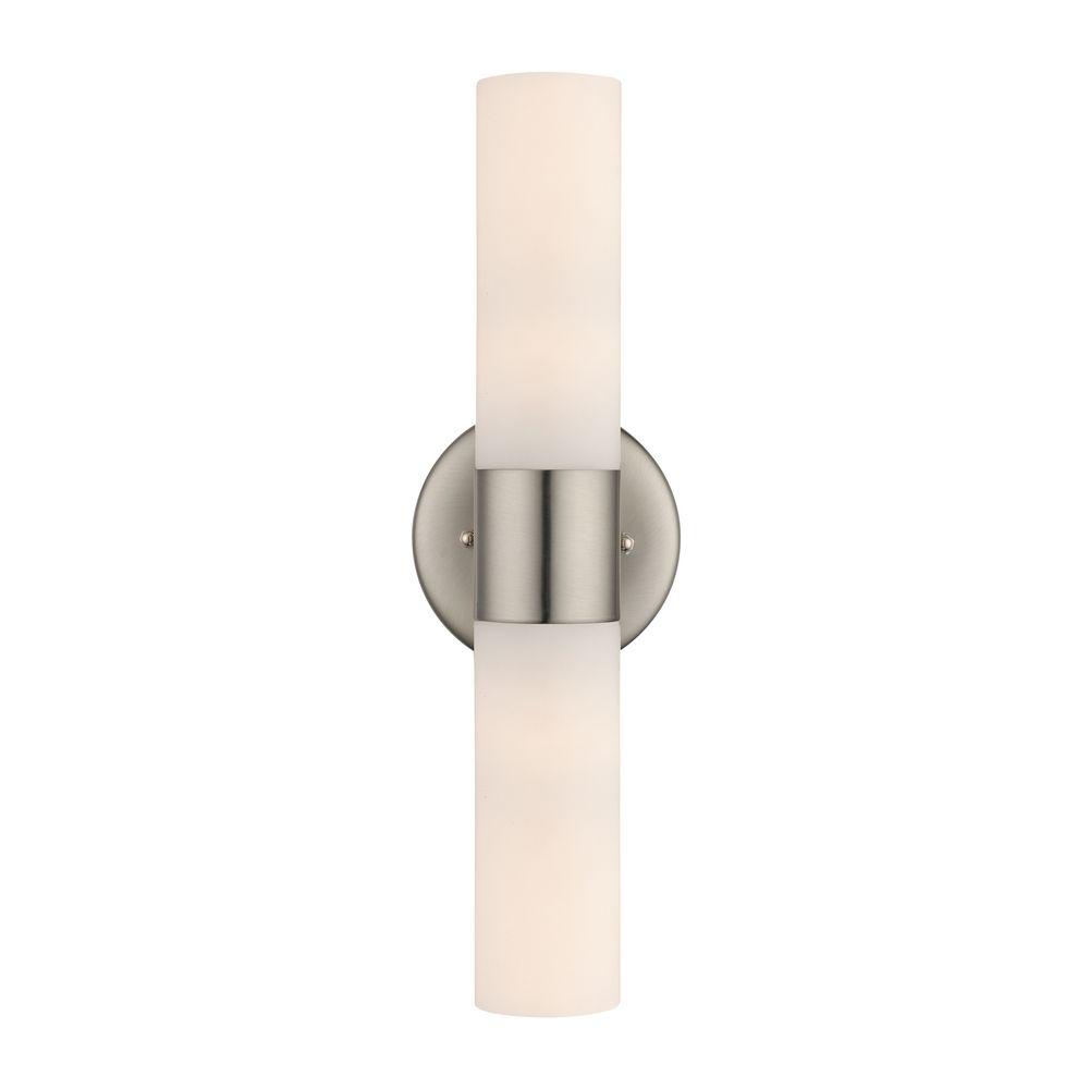 Bathroom Lights Vertical satin nickel bathroom light - vertical or horizontal mounting