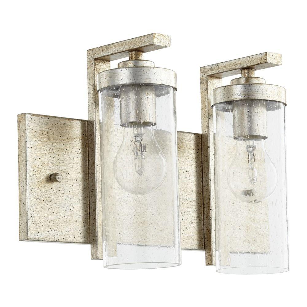 Seeded Glass Bathroom Light Silver Quorum Lighting 503 2 60 Destination Lighting