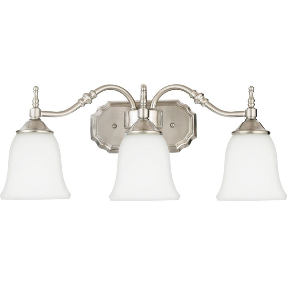 bathroom lighting brushed nickel finish bathroom light with white glass in brushed nickel finish 22181