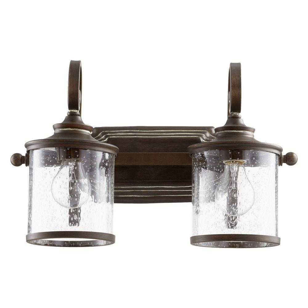 Seeded Glass Bathroom Light Copper Quorum Lighting 5073 2 39 Destination Lighting