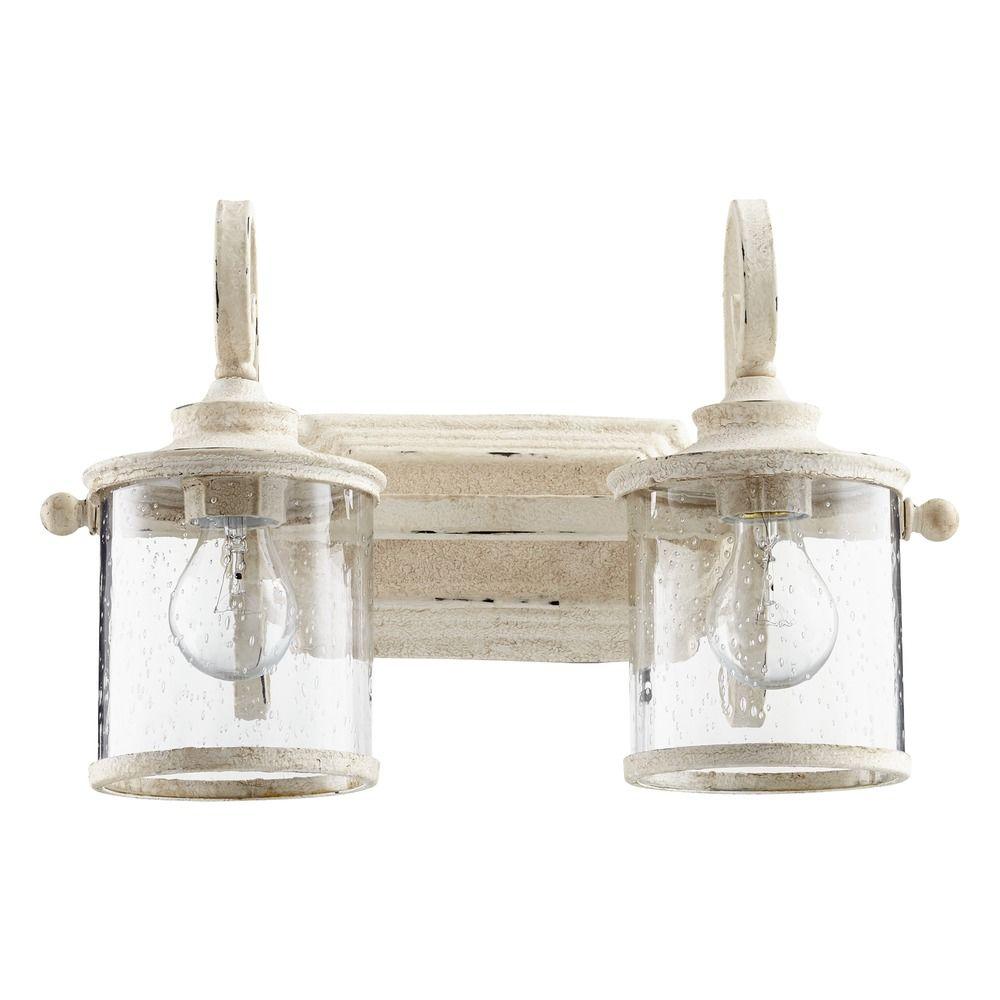 Seeded Glass Bathroom Light White Quorum Lighting 5073 2
