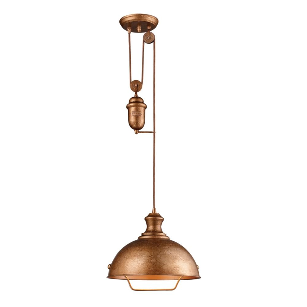 Elk Lighting Farmhouse Pulley Pendant Light Copper Finish 65061 1