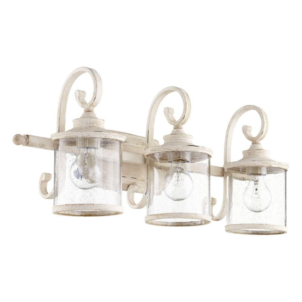 Seeded Glass Bathroom Light White Quorum Lighting 5073 3