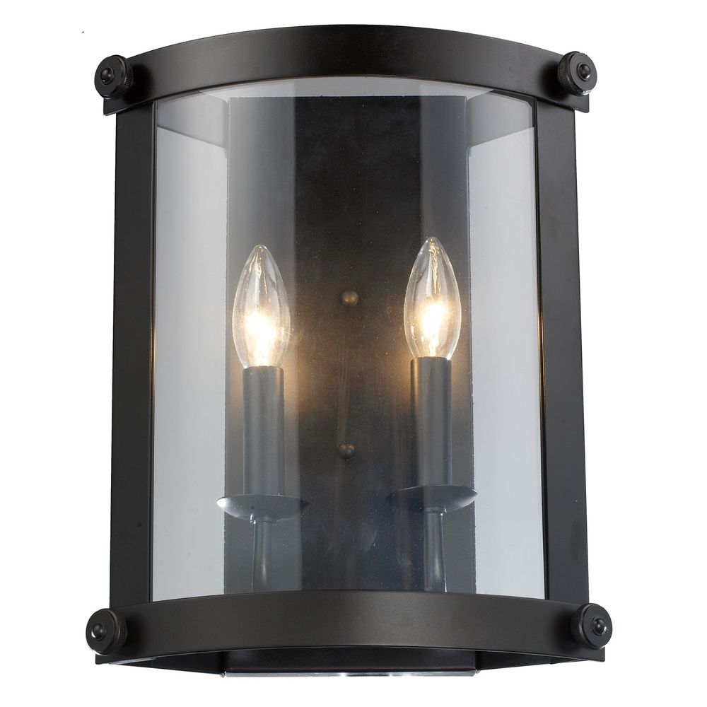 Bronze Glass Wall Lights : Modern Sconce Wall Light with Clear Glass in Oiled Bronze Finish 66280-2 Destination Lighting