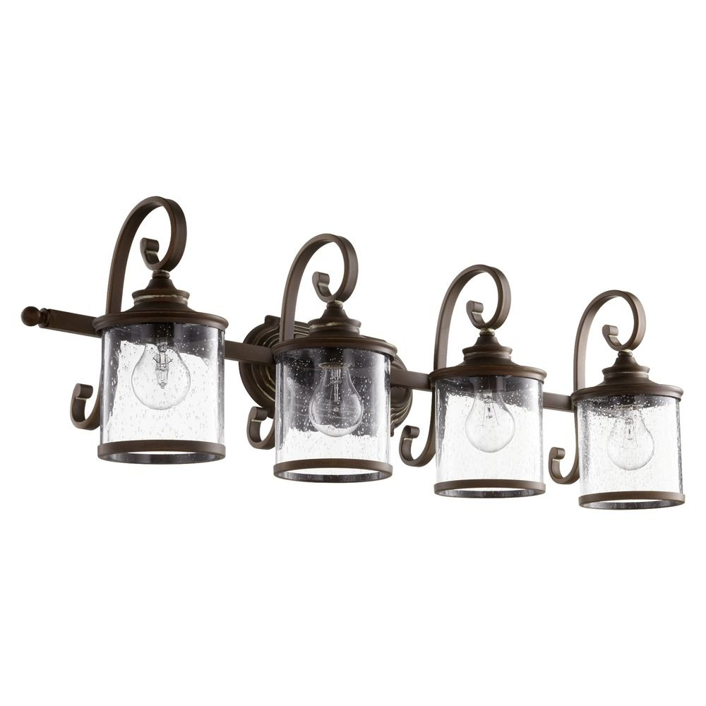 Seeded Glass Bathroom Light Copper Quorum Lighting 5073 4 39 Destination Lighting