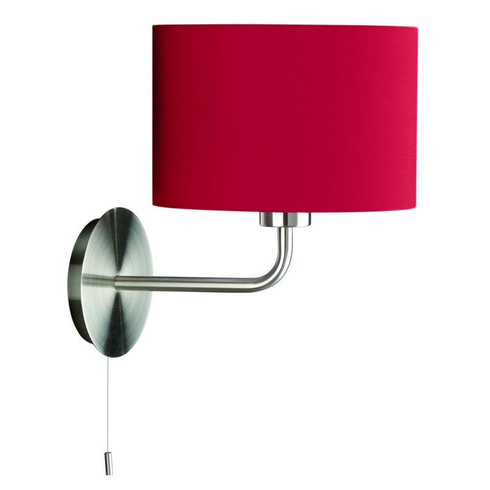 Pull-Chain Wall Lamp with Red Drum Shade 362773248 Destination Lighting