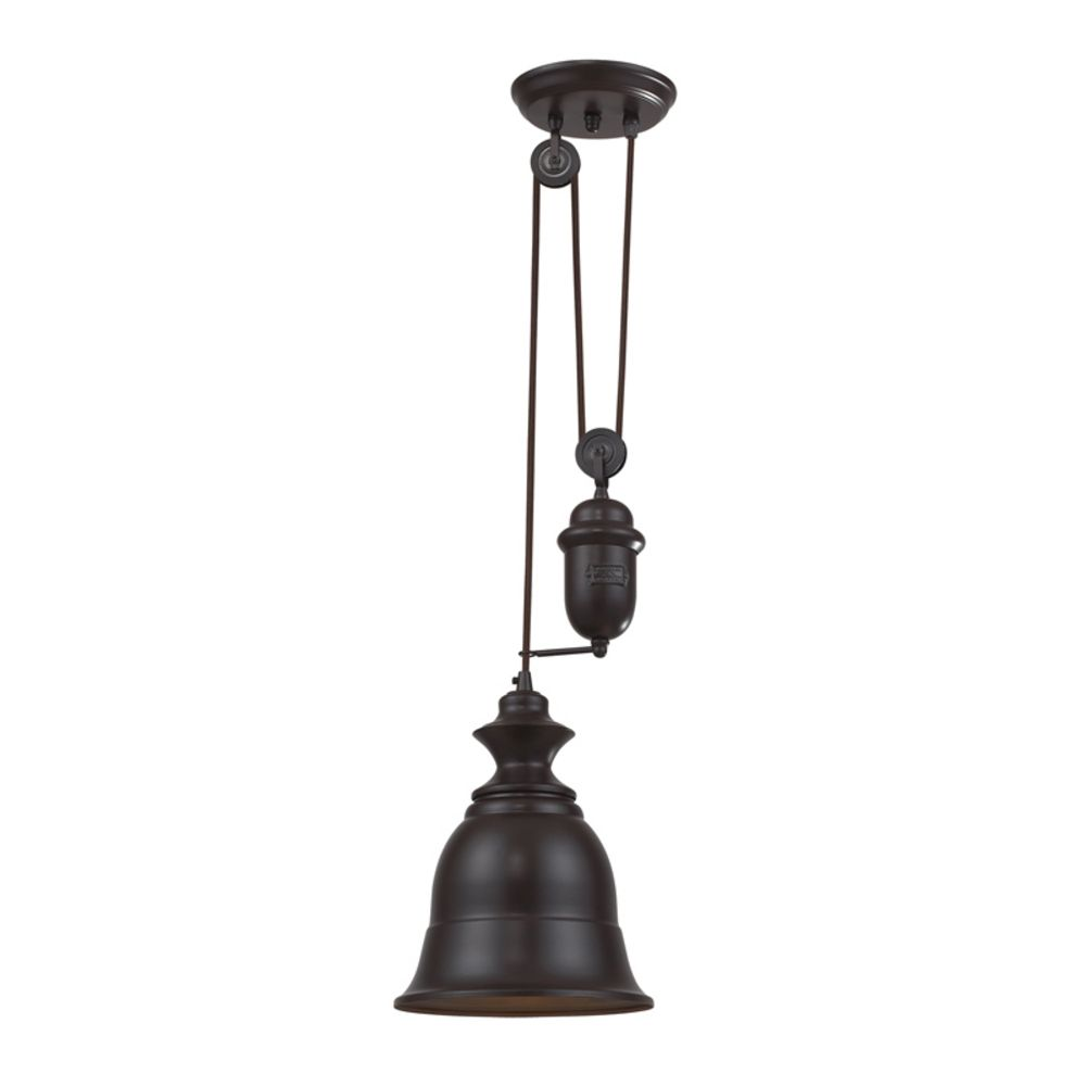 Farmhouse Pulley Mini-Pendant Light with Bell Shade ...