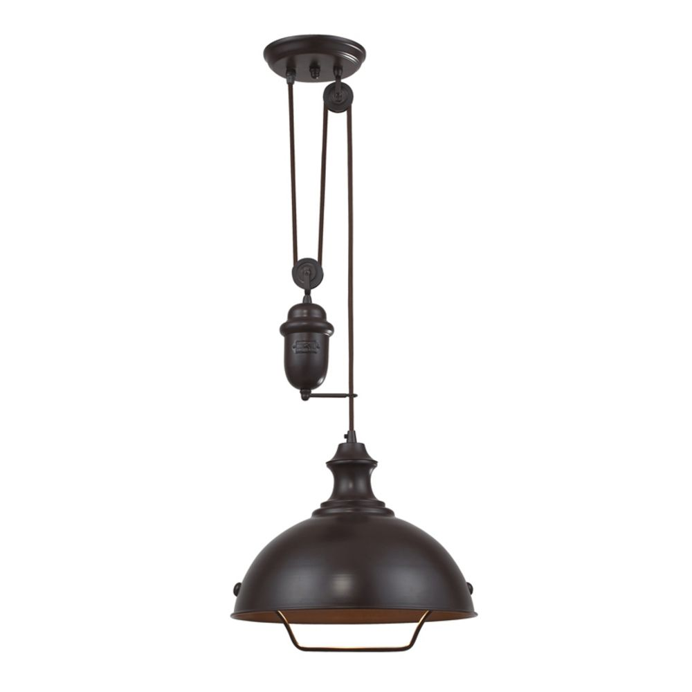 Farmhouse pulley pendant light bronze finish 65071 1 for Farmhouse pendant lighting kitchen