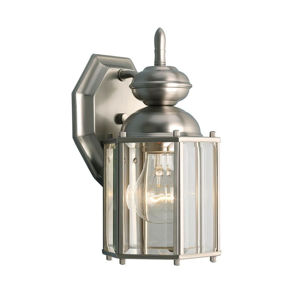 Progress Lighting Green Landscape Pathlight P5204 38: Progress Outdoor Wall Light With Clear Glass In Brushed