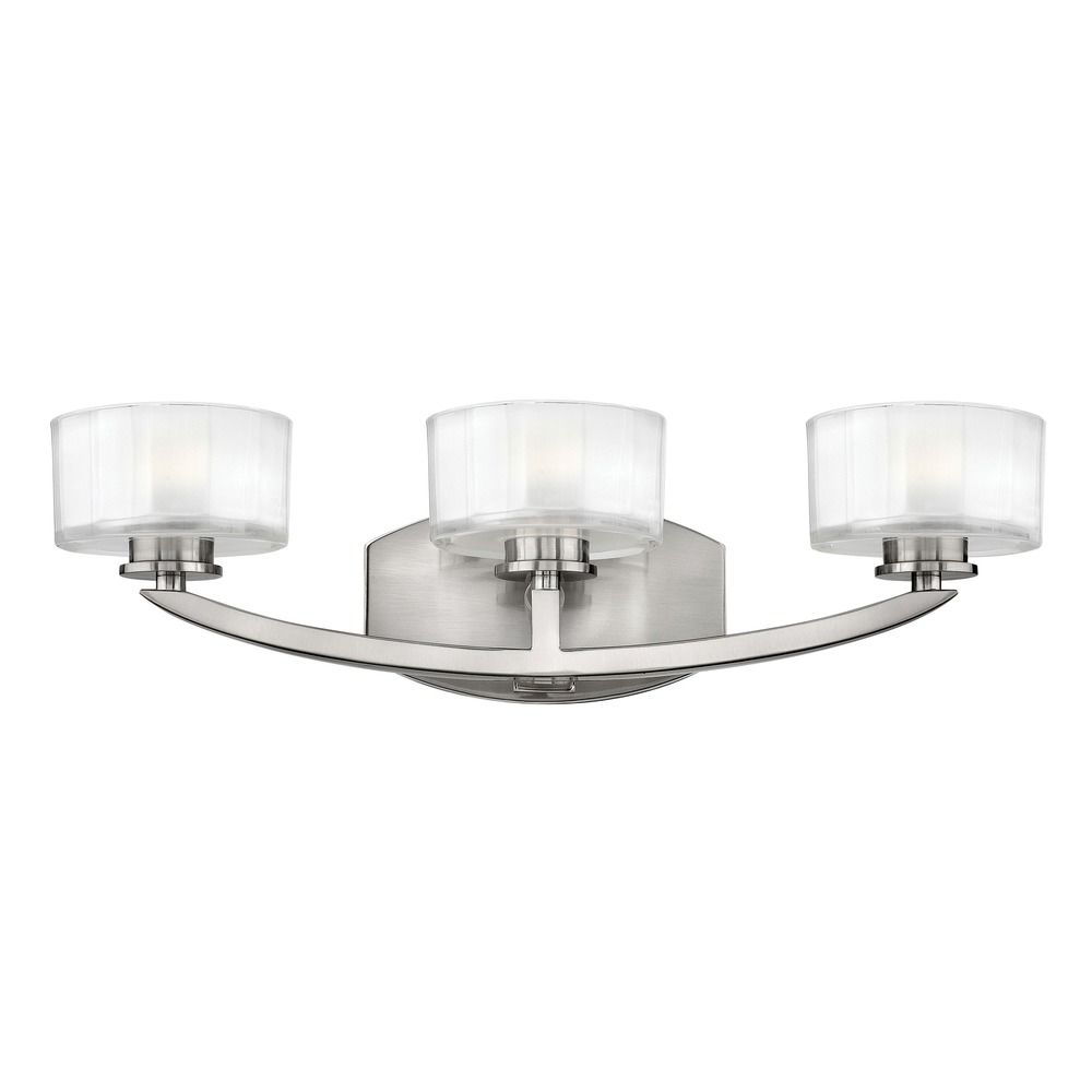 Hinkley lighting meridian brushed nickel led bathroom for Hinkley bathroom vanity lighting