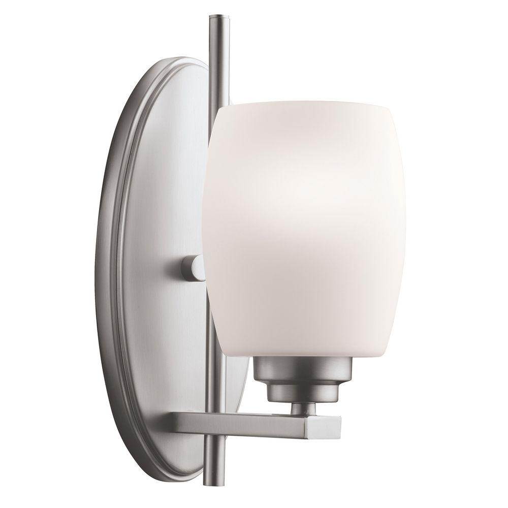 kichler modern sconce light with white glass in brushed. Black Bedroom Furniture Sets. Home Design Ideas