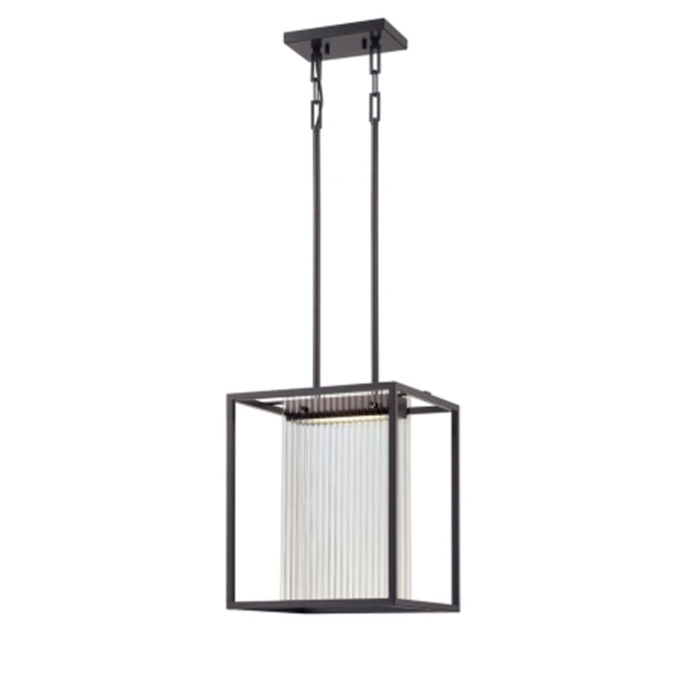 Modern LED Square Pendant Light In Black Finish With