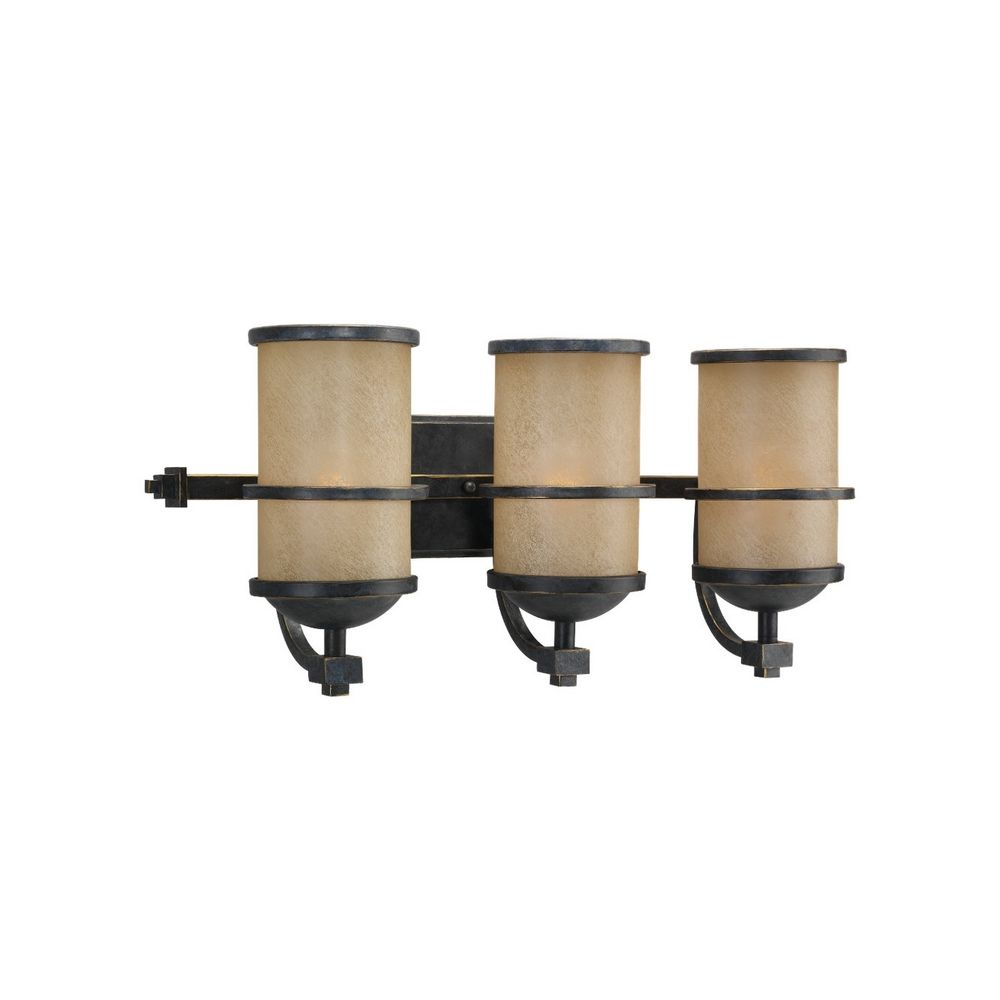 nautical bathroom light with three lights in bronze finish 44522