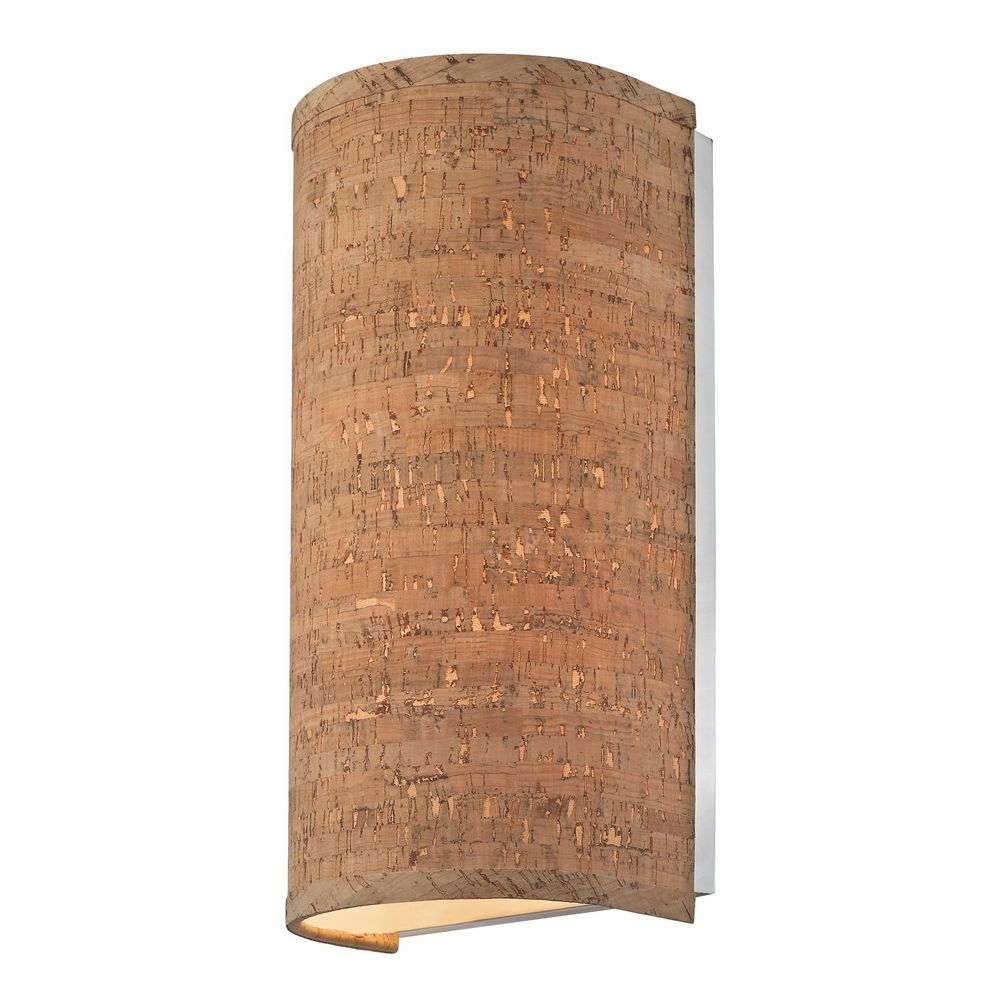 Cork Wall Sconce With Cylinder Shade Destination Lighting - Bathroom wall sconces with fabric shades