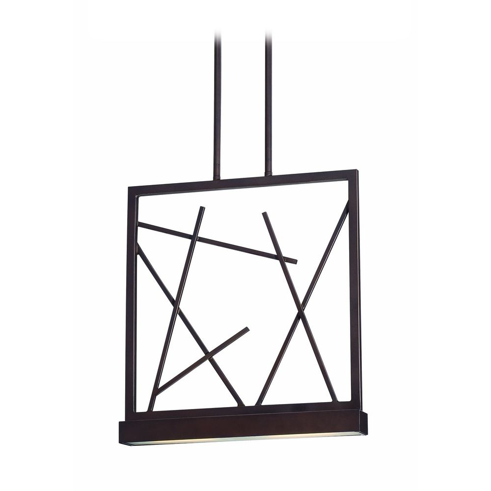 modern led pendant light with white glass in patina bronze