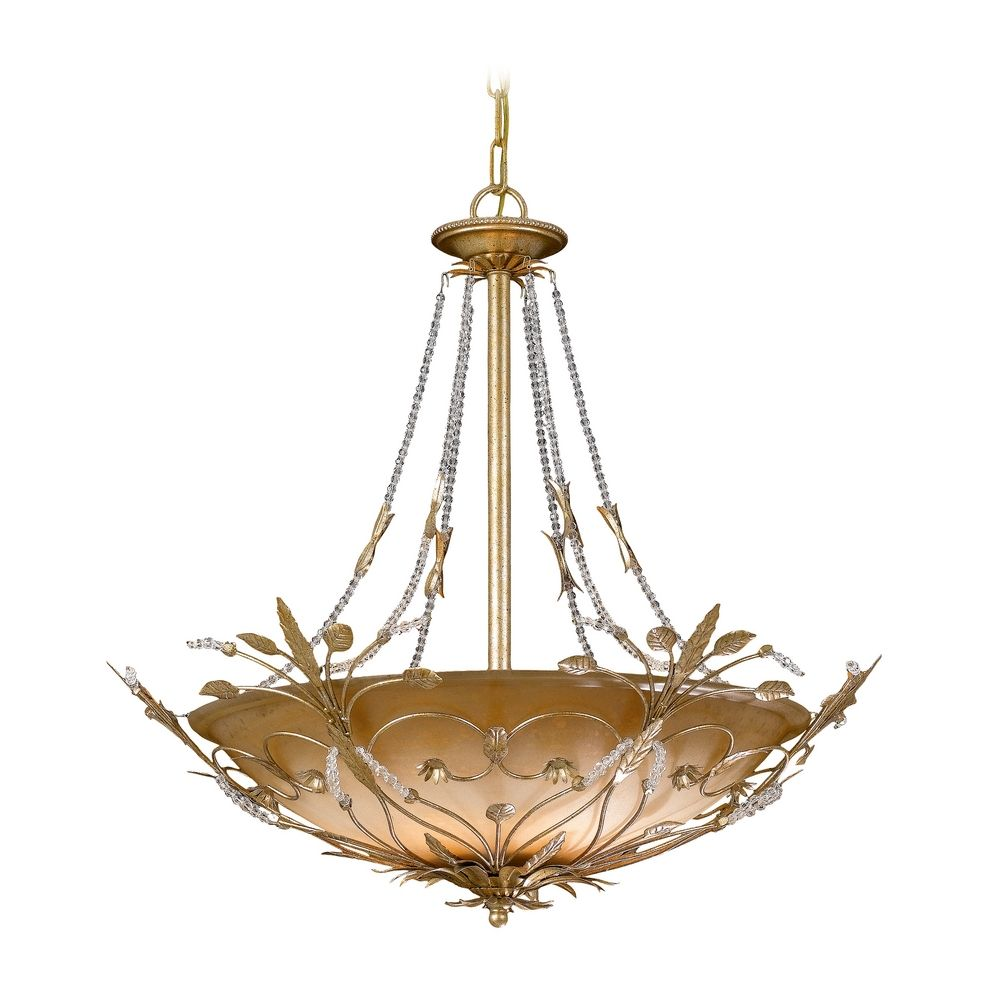 Crystal Pendant Light With Amber Glass In Gold Leaf Finish